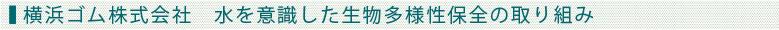 横浜ゴム株式会社 水を意識した生物多様性保全の取り組み